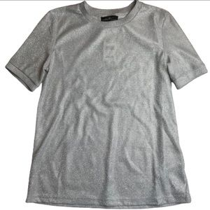 Tops - On Twelfth Shimmer Silver Sparkle Tee